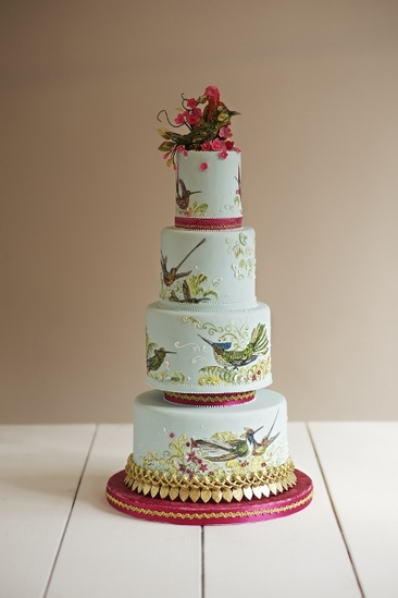 Bespoke, hand-painted tropical bird wedding cake, The Frostery, Manchester