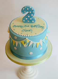 Simple blue Birthday Cake by The Frostery, Oldham Lancashire